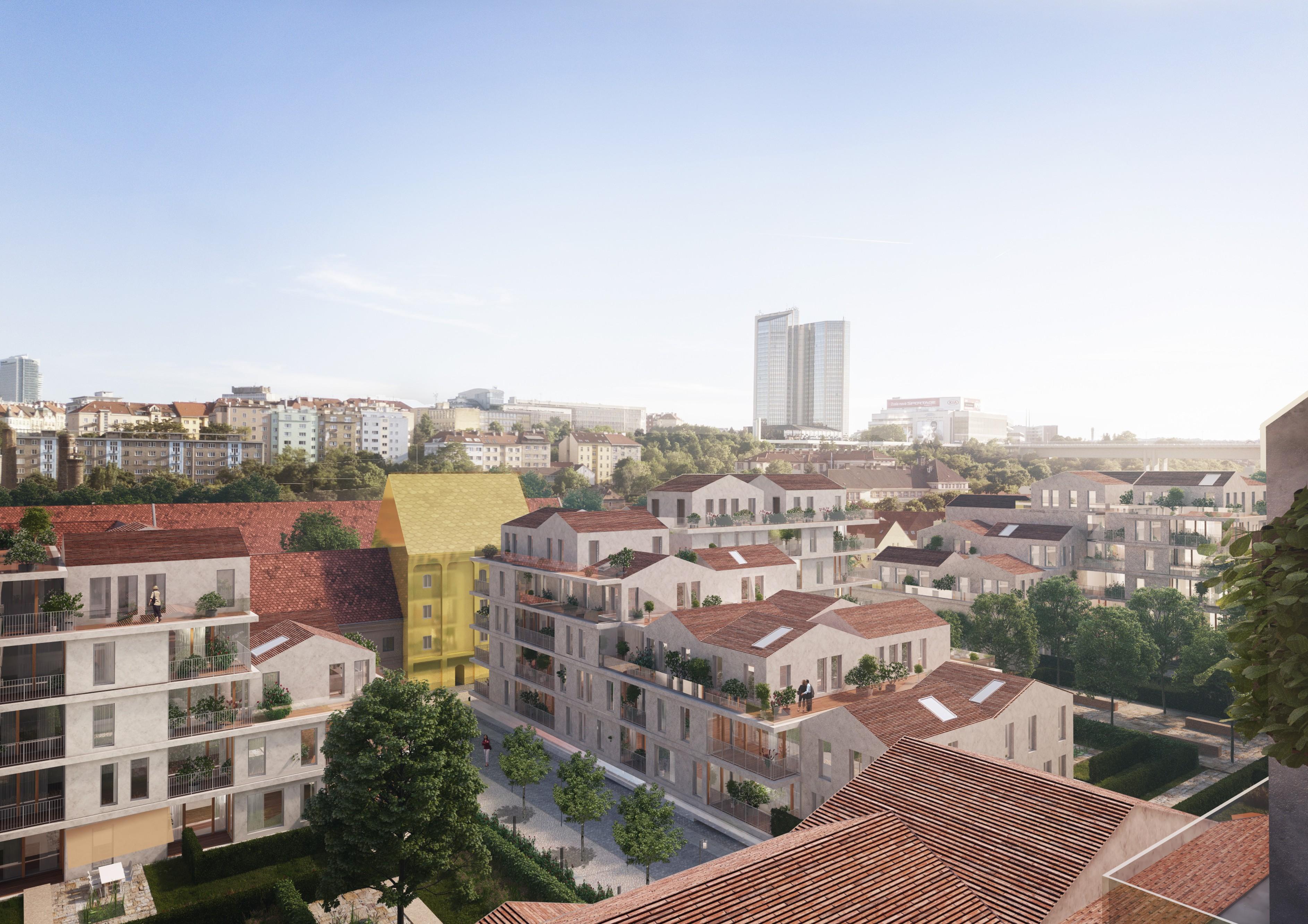 Veřejné uliční prostory uvnitř obytné skupiny mají charakter pěší zóny a tvoří nesmírně cenné předpolí k vlastním domům.
