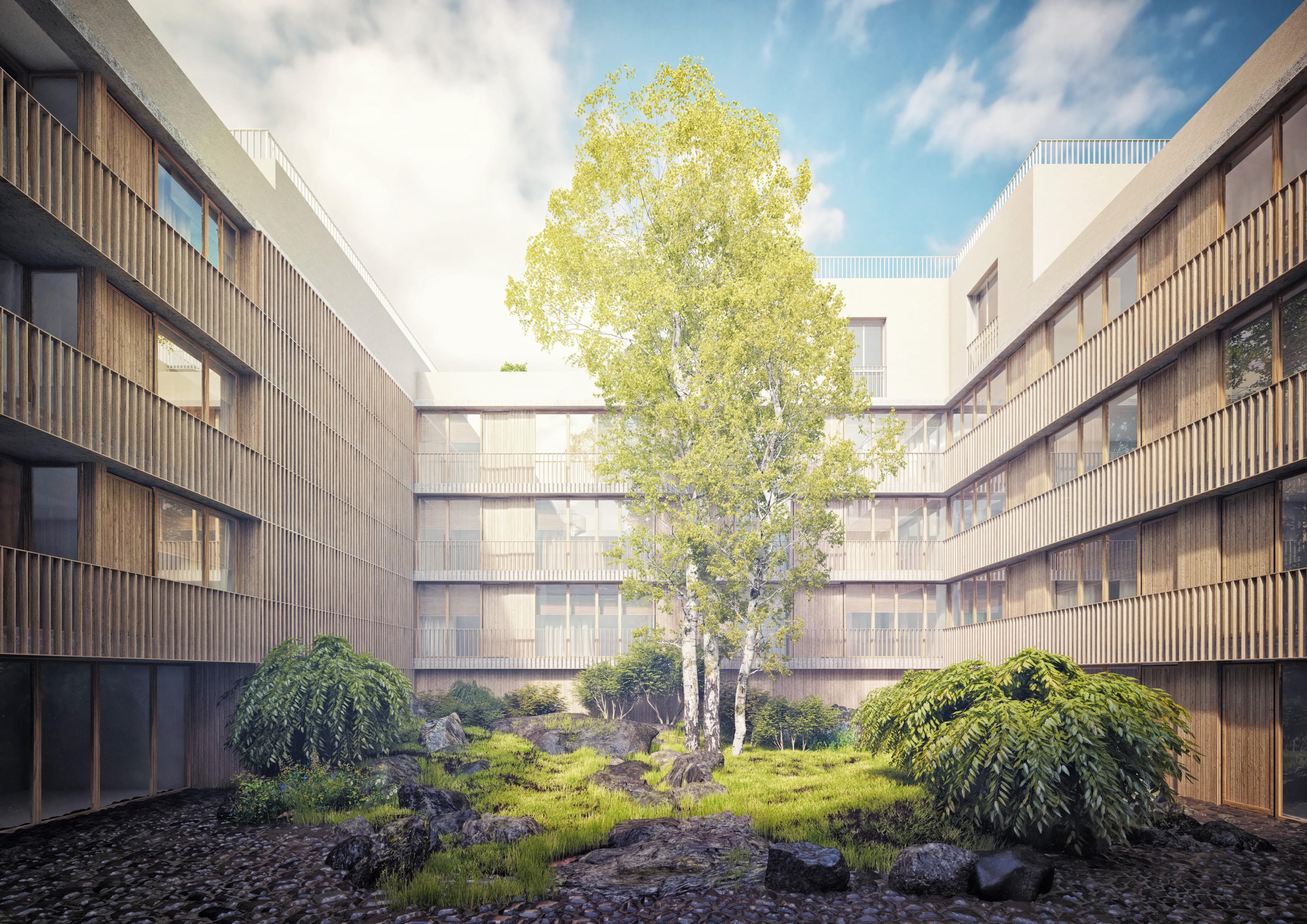 Dvorana obytného bloku má fasády řešené jednotně, inspirací konceptu je shakespearovské dřevěné divadlo s průbežnými balkóny a zeleným jevištěm. Návrh pečlivě sleduje intimitu bydlení a univerzalitu fasády obsluhující složité dispoziční layouty.